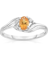 Noray Designs 14K White Gold Oval Gemstone & Diamond (0.03 Ct, G-H Color, SI2-I1 Clarity) Ring (Yellow - 8 - Citrine)