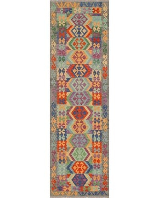 """One-of-a-Kind Ceporah Hand-Knotted 1990s 2'8"""" x 9'6"""" Runner Wool Area Rug in Blue/Gray"""