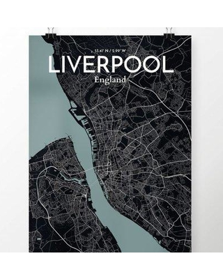 """OurPoster.com 'Liverpool City Map' Graphic Art Print Poster in Midnight OP-LPL Size: 36"""" H x 24"""" W"""