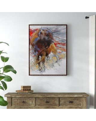Millwood Pines 'Crimson Bull' Framed Acrylic Painting Print on Canvas BI159711