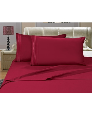Elegant Comfort 1500 Series 4-Piece Burgundy (Red) Triple Marrow Embroidered Pillowcases Microfiber Twin XL Size Bed Sheet Set
