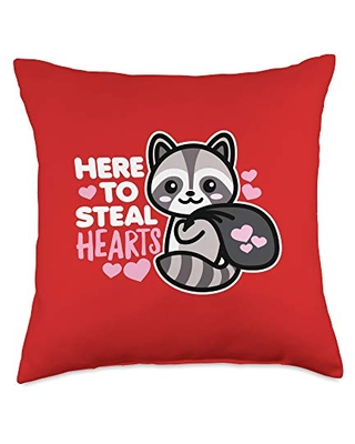 Detour Shirts Here to Steal Hearts Funny Valentines Day Racoon Kawaii Dark Throw Pillow, 18x18, Multicolor