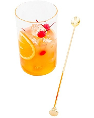 """16"""" Stainless Steel Muddler Barspoon: Perfect for Professional Bars or At Home Use - Gold Plated Mixing Spoon With Muddler Top - 1-CT - Restaurantware"""