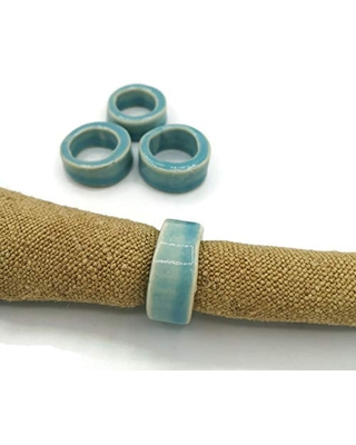 Blue Ceramic Napkin Rings Set, Boho Table Decor For Every Ocasion To Use Indoor Or Outdoor