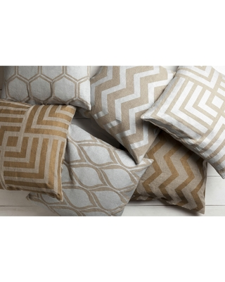 Decorative Beak 20-inch Poly or Feather Down Filled Pillow (Down - Gold/Grey)