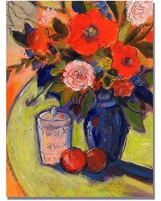 """Trademark Art """"Red Flowers with Jar"""" Canvas Wall Art by Shelia Golden"""