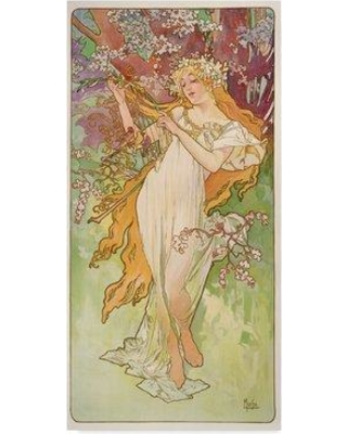 """Bungalow Rose 'The Seasons: Spring 1896' Oil Painting Print on Wrapped Canvas BGLS5581 Size: 32"""" H x 16"""" W x 2"""" D"""