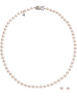 Women's Mikimoto Cultured Pearl Necklace & Stud Earring Set