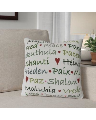 Spectacular Deals On The Holiday Aisle Words Of Peace Square Pillow Cover Insert Polyester Polyfill Polyester Polyester Blend In Green Size 20 H X 20 W Wayfair