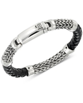 Legacy for Men by Simone I. Smith Black Leather Bracelet in Stainless Steel