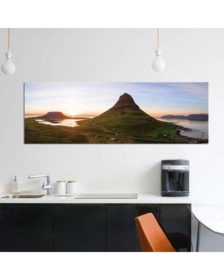 """East Urban Home 'Aerial View Of Kirkjufell Mountain At Sunset Iceland' By Matteo Colombo Graphic Art Print on Wrapped Canvas ETRC6694 Size: 12"""" H x 36"""" W x 0.75"""" D"""
