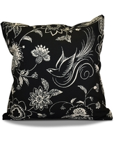 18 x 18-inch, Traditional Bird Floral, Floral Holiday Print Pillow (Green)