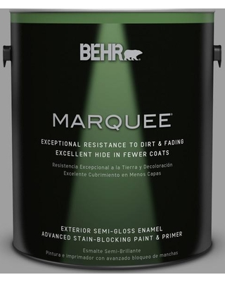 BEHR MARQUEE 1 gal. #PPU26-06 Elemental Gray Semi-Gloss Enamel Exterior Paint and Primer in One