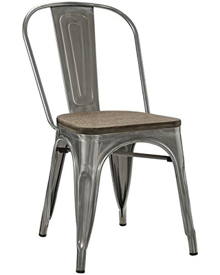 Modway Promenade Industrial Modern Steel Dining Side Chair with Bamboo Seat in Gunmetal
