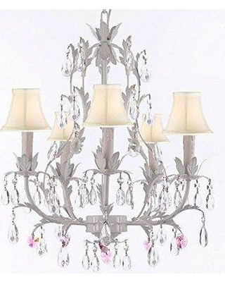House of Hampton Moldenhauer 5-Light Shaded Chandelier HMPT3555 Shade Color: Cream Crystal Color: Pink