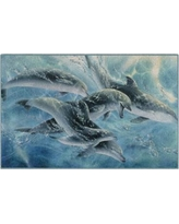 Brumlow Mills Playful Passage Dolphins Printed Rug, Med Blue