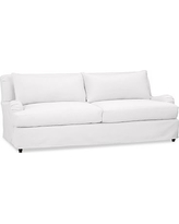 "Carlisle Slipcovered Sofa 80"", Polyester Wrapped Cushions, Twill White"