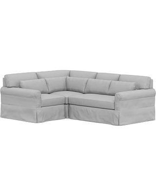 York Roll Arm Slipcovered Deep Seat Right Arm 3-Piece Corner Sectional, Bench Cushion, Down Blend Wrapped Cushions, Brushed Crossweave Light Gray