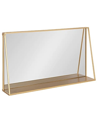 Kate and Laurel Lintz Metal Framed Mirror with Shelf, 28x16, Gold