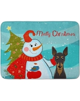 The Holiday Aisle Snowman with Min Pin Memory Foam Bath Rug THLA5074