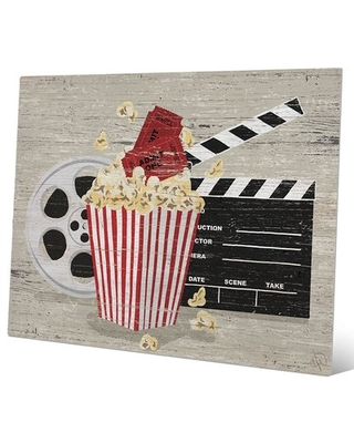 'Popcorn, Clapperboard And Film Reel' Graphic Art on Plaque