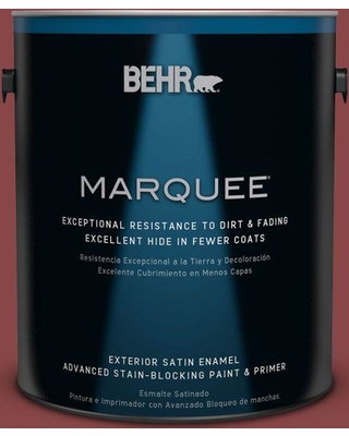 BEHR MARQUEE 1 gal. #PPU1-10 Forbidden Red Satin Enamel Exterior Paint and Primer in One