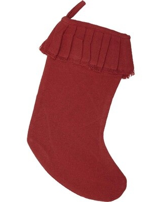 "Festive Burlap Ruffled Stocking The Holiday Aisle® Size: 11"" H x 20"" W, Color: Red"