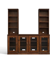 Printer's Large TV Stand with Towers, Tuscan Chestnut stain