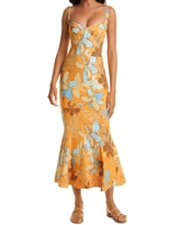 Isla & White Agwe Floral Linen & Cotton Dress, Size X-Small in Orange Lilies at Nordstrom