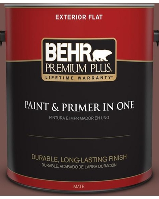BEHR Premium Plus 1 gal. #PPU2-20 Oxblood Flat Exterior Paint and Primer in One, Red