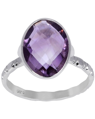 Amethyst Sterling Silver Oval Promise Ring by Essence Jewelry (8 - Amethyst)