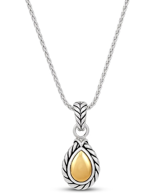 Textured Wheat Diamond Accent Pendant Sterling Silver/14K Yellow Gold