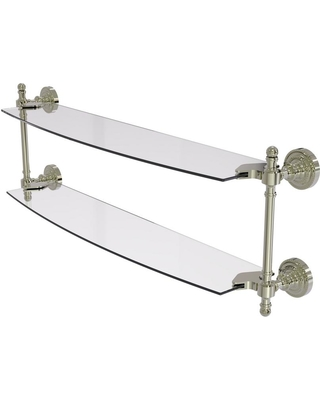 Allied Brass Retro Dot Collection 24 in. 2-Tiered Glass Shelf in Polished Nickel