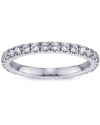 Platinum 3/4ct TDW Pave Set Diamond Eternity Wedding Band (8)