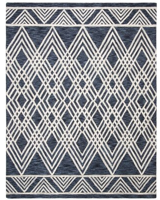 Vedika Hand-Tufted Wool Navy/Ivory Area Rug Union Rustic Rug Size: Rectangle 4' x 6'