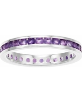 Traditions Sterling Silver Channel-Set Amethyst Birthstone Ring, Women's, Size: 6, Purple