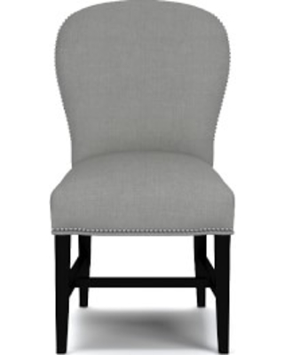 Maxwell Dining Side Chair without Handle, Performance Linen Blend, Cobblestone, Polished Nickel