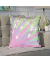 """Brayden Studio Enciso Birds and Sun 100% Cotton Pillow Cover BYST7149 Size: 14"""" H x 14"""" W, Color: Purple/Green"""