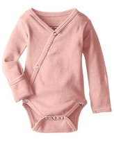 L'ovedbaby Unisex-Baby Organic Cotton Kimono Long Sleeve Bodysuit, Coral, 0/3 Months