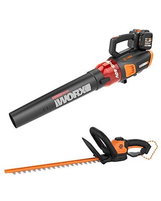 WORX WG584 40V Power Share Turbine Cordless Leaf Blower with Brushless Motor (2x20V Batteries) with Power Share 22-inch Cordless Hedge Trimmer