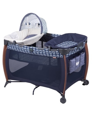 Travel Play Yard Black//Gray//Blue Perma Child Safety Pop Up Portable Fabric Playpen