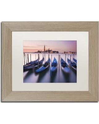 "Trademark Art ""Blue Gondolas"" by Michael Blanchette Matted Framed Photographic Print ALI2337-T1 Size: 11"" H x 14"" W x 0.5"" D Matte Color: White"