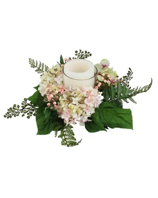 """16"""" Decorative Artificial Pink and Green Hydrangea and Berry Hurricane Glass Candle Holder"""