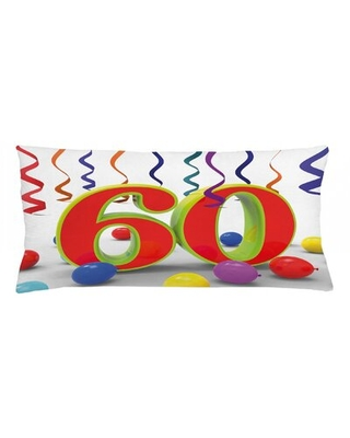 "60Th Birthday Indoor / Outdoor Lumbar Pillow Cover East Urban Home Size: 16"" x 36"""