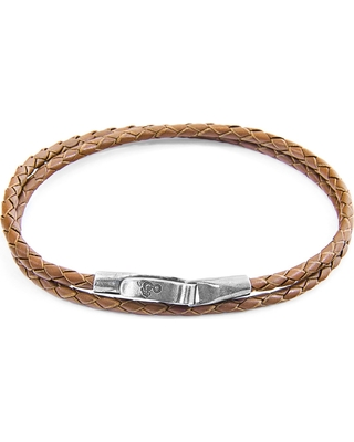 ANCHOR & CREW - Light Brown Liverpool Silver & Braided Leather Bracelet