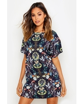 Womens Oriental Floral Cap Sleeve Shift Dress - Navy - 6