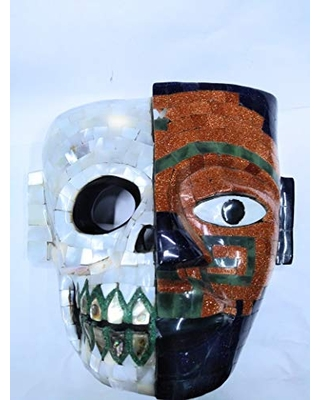 MASK OF LIFE AND DEATH AZTECA HAND CARVED ON OBSIDIAN STONE AND INCRUSTED WITH CONCHA NACAR