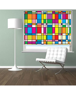 Mondrian Style Abstract Art Pattern Printed Picture Photo Roller Blind Custom Made Window