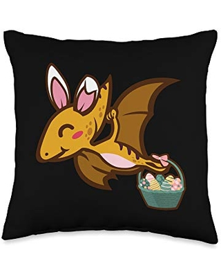Easter Holiday Design Apparel Gifts Pterosaur Dinosaur Bunny Egg Hunting-Cute Easter Throw Pillow, 16x16, Multicolor