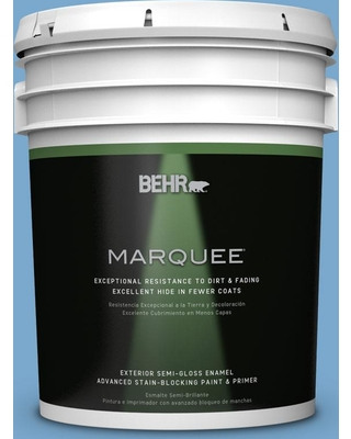 BEHR MARQUEE 5 gal. #M520-4 Mirror Lake Semi-Gloss Enamel Exterior Paint and Primer in One